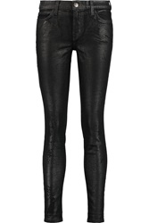 Current Elliott The Ankle Skinny Coated Mid Rise Skinny Jeans Black