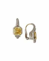 Judith Ripka Estate Asscher Cut Cz Drop Earrings Yellow