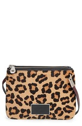 Marc By Marc Jacobs 'Ligero Leopard Double Percy' Genuine Calf Hair Crossbody Bag