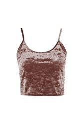 Topshop Tall Crushed Velvet Crop Camisole Top Dusty Pink
