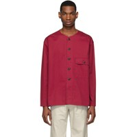 Christophe Lemaire Red V Neck Shirt