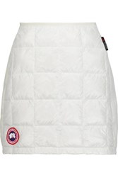 Canada Goose Hybridge Lite Jersey Paneled Quilted Shell Down Mini Skirt White