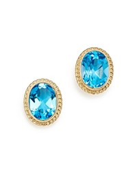 Bloomingdale's Blue Topaz Oval Medium Bezel Stud Earrings In 14K Yellow Gold Blue Gold