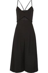 Michelle Mason Cutout Cropped Stretch Cady Jumpsuit Black