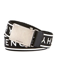 Givenchy Logo Webbed Plate Belt Black White