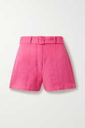 Solid And Striped Linen Blend Shorts Pink