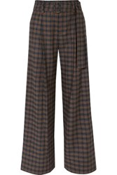 Vince Belted Checked Woven Wide Leg Pants Brown