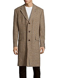 Saks Fifth Avenue Houndstooth Patterned Wool Overcoat Tan