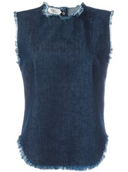 Cycle Sleeveless Frayed Denim Top Blue