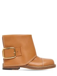 Alexander Mcqueen 20Mm Leather Ankle Boots Tan