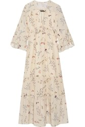Rachel Zoe Belmont Ruffled Floral Print Silk Chiffon Maxi Dress Cream