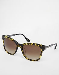 Vivienne Westwood Square Sunglasses With Metal Arm Greenhavana