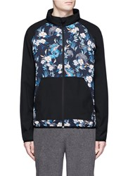 The Upside 'Dragon Night' Floral Print Running Zip Hoodie Multi Colour