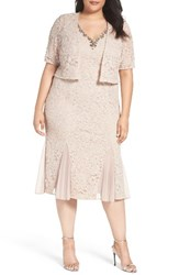 Alex Evenings Plus Size Women's Embellished Lace Tea Length Dress With Bolero Jacket