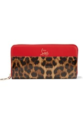 Christian Louboutin Panettone Leopard Print Leather Continental Wallet Leopard Print