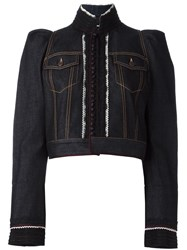 Dsquared2 Embroidered Cropped Denim Jacket Blue