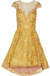 Marchesa Notte Embroidered Metallic Tulle Mini Dress Yellow