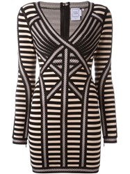 Herve Leger Herve Leger Panelled Fitted Mini Dress Nude And Neutrals