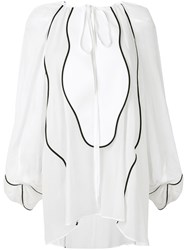 Genny Contrast Trimmed Blouse White