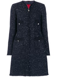 Moncler Gamme Rouge Sequinned Coat Feather Down Polyamide Polyester Virgin Wool Blue