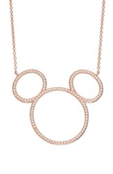 Disney Mickey Mouse Open Silhouette Rose Gold And Crystal Pendant Necklace Crystal Rose Gold