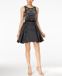 Xscape Evenings Two Piece Beaded Fit And Flare Dress Black White