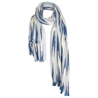 Fat Face Textured Stripe Scarf Blue White
