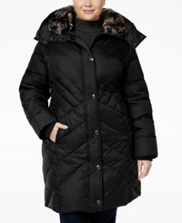 London Fog Plus Size Faux Fur Trim Quilted Puffer Coat Black