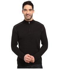 Ecoths Noah Zip Neck Sweater Black Dark Shadow Men's Long Sleeve Pullover