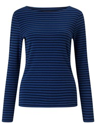 John Lewis Boat Neck Long Sleeve Stripe T Shirt Denim Blue Navy