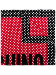 Moschino Spotted Logo Print Scarf Red
