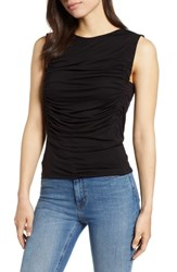 Bobeau Cinched Sleeveless Knit Top Black