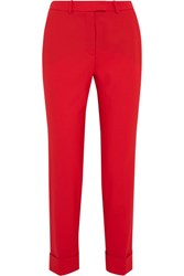 Cefinn Cropped Stretch Wool Slim Leg Pants Red