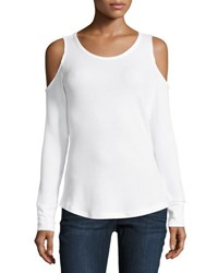 Sweet Romeo Cold Shoulder Waffle Knit Thermal Top White