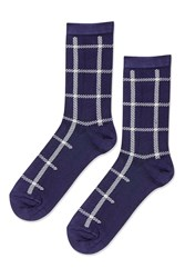 Topshop Clean Check Ankle Socks Navy Blue