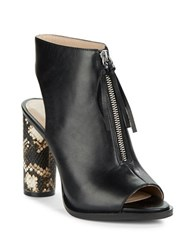 French Connection Uttara Leather Open Toe Ankle Boots Black