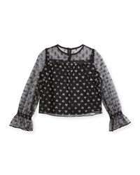 Milly Minis Leila Metallic Hearts Tulle Blouse Size 8 16 Black Silver