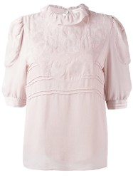 See By Chloe Embroidered Georgette Blouse Pink Purple