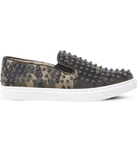 Steve Madden Emmmaa S Studded Camouflage Print Skate Shoes Grey Synthetic