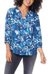 Nydj Pleat Back Blouse Rose Garden Pacific Grove