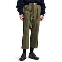 Sacai Folkloric Striped Cotton Blend Crop Trousers Olive