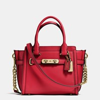 Coach Swagger 21 In Glovetanned Leather Light Gold Red Currant