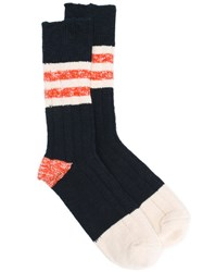 Bellerose Stripe Panel Socks Blue