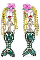 Elizabeth Cole Gold Tone Crystal And Resin Earrings Green