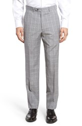 Santorelli Men's Big And Tall Flat Front Plaid Wool Trousers Light Grey