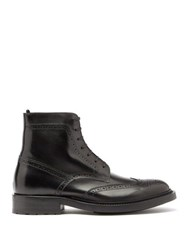 Saint Laurent Army Perforated Leather Combat Boots Black