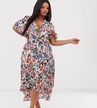 Missguided Plus Wrap Midi Dress In Floral Print Multi