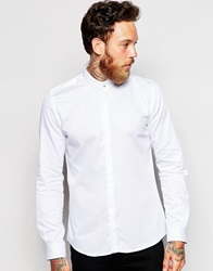 Noose And Monkey Grandad Shirt With Silver Monkey Skull Button White