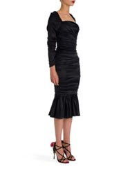 Dolce And Gabbana Long Sleeve Ruched Stretch Satin Dress Black