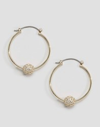 Asos Pave Ball Hoop Earrings Gold